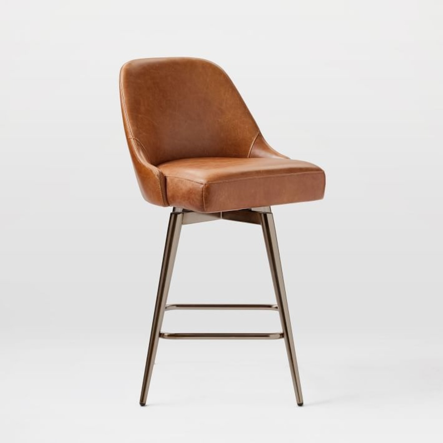 West Elm Mid-Century Leather Counter Stool - image-3