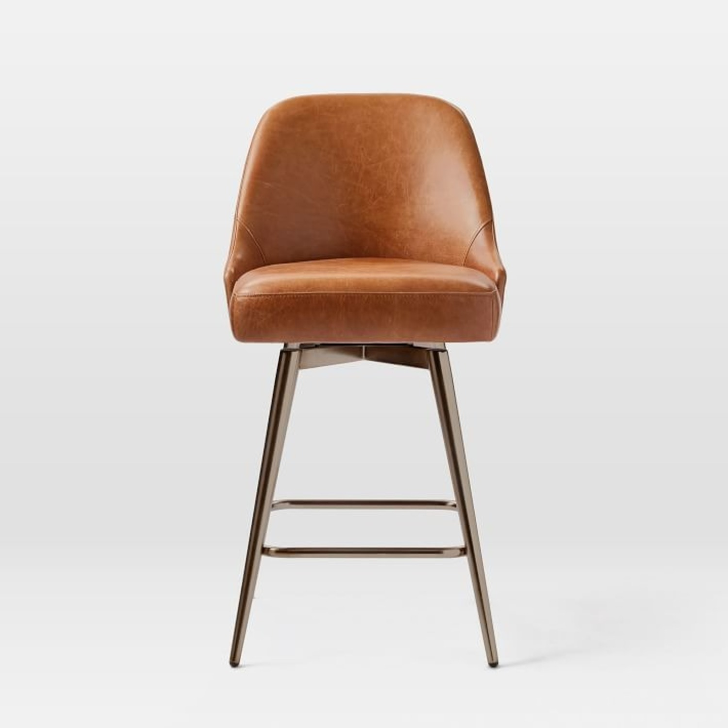 West Elm Mid-Century Leather Counter Stool - image-2