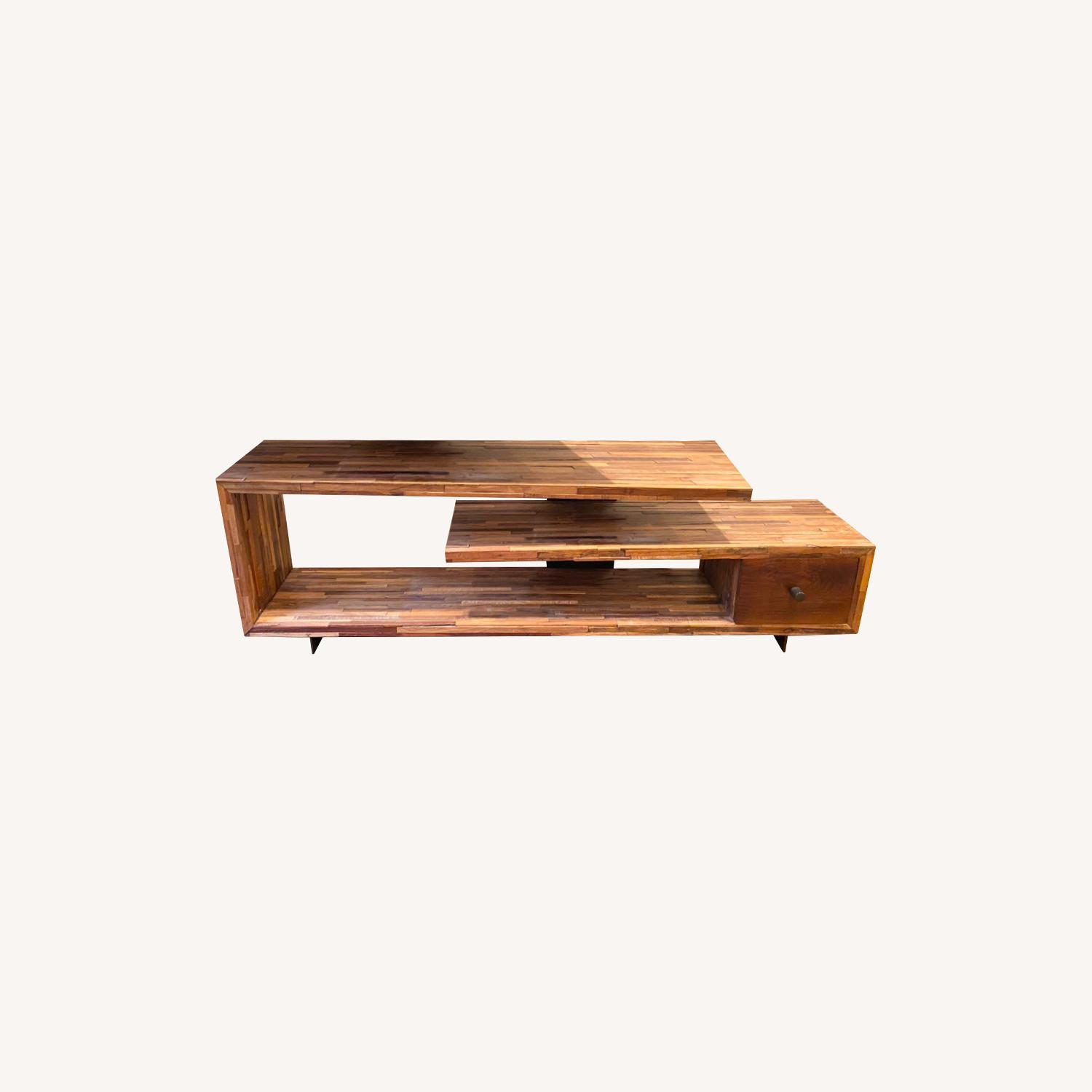 West Elm Staggered Wood Media Console - image-0