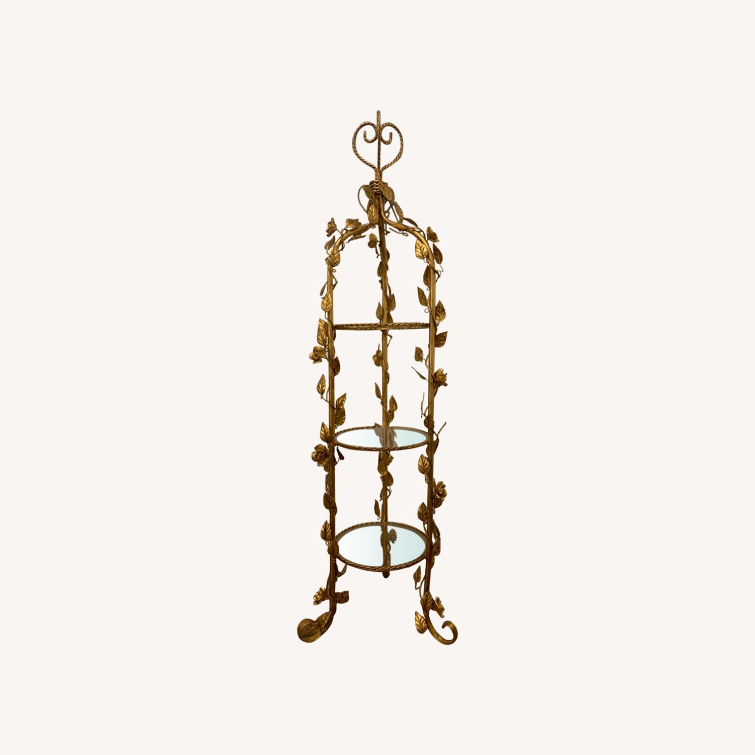 Antique Gold and Glass Etagere - image-0