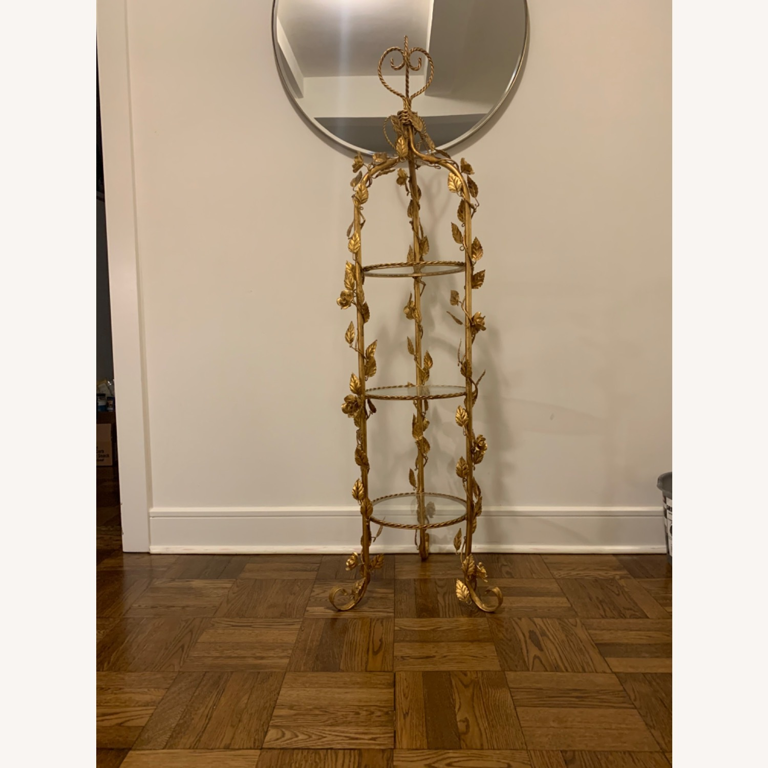 Antique Gold and Glass Etagere - image-1