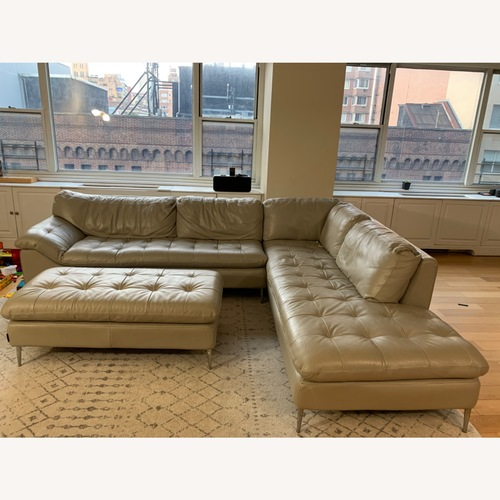 Used Bloomingdales Leather Couch and Ottoman for sale on AptDeco