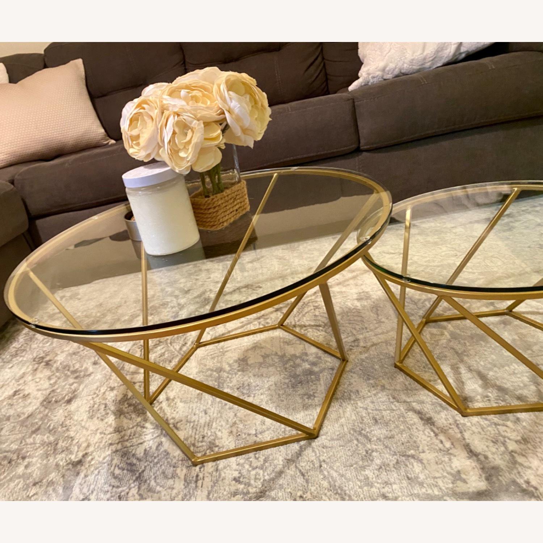 Gold Glass Round Coffee Table Set Aptdeco