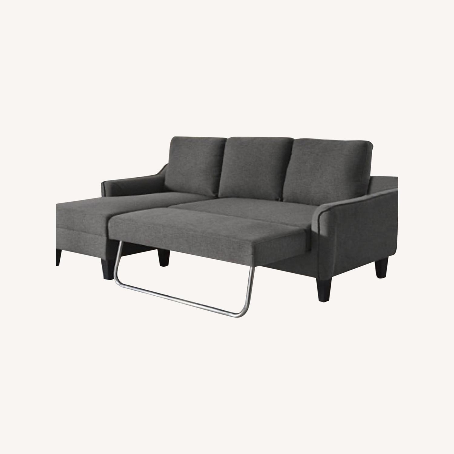 Picture of: Ashley Furniture Gray Sofa Chaise Sleeper Aptdeco