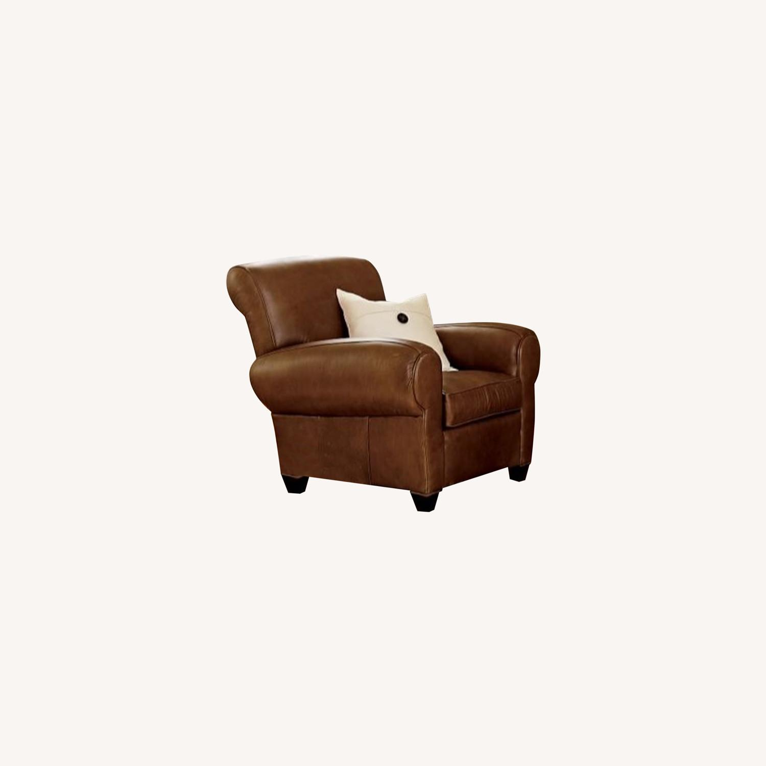 Pottery Barn Leather Armchair - image-0