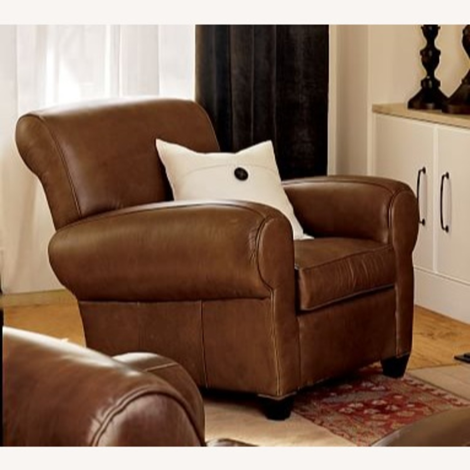Pottery Barn Leather Armchair - image-1