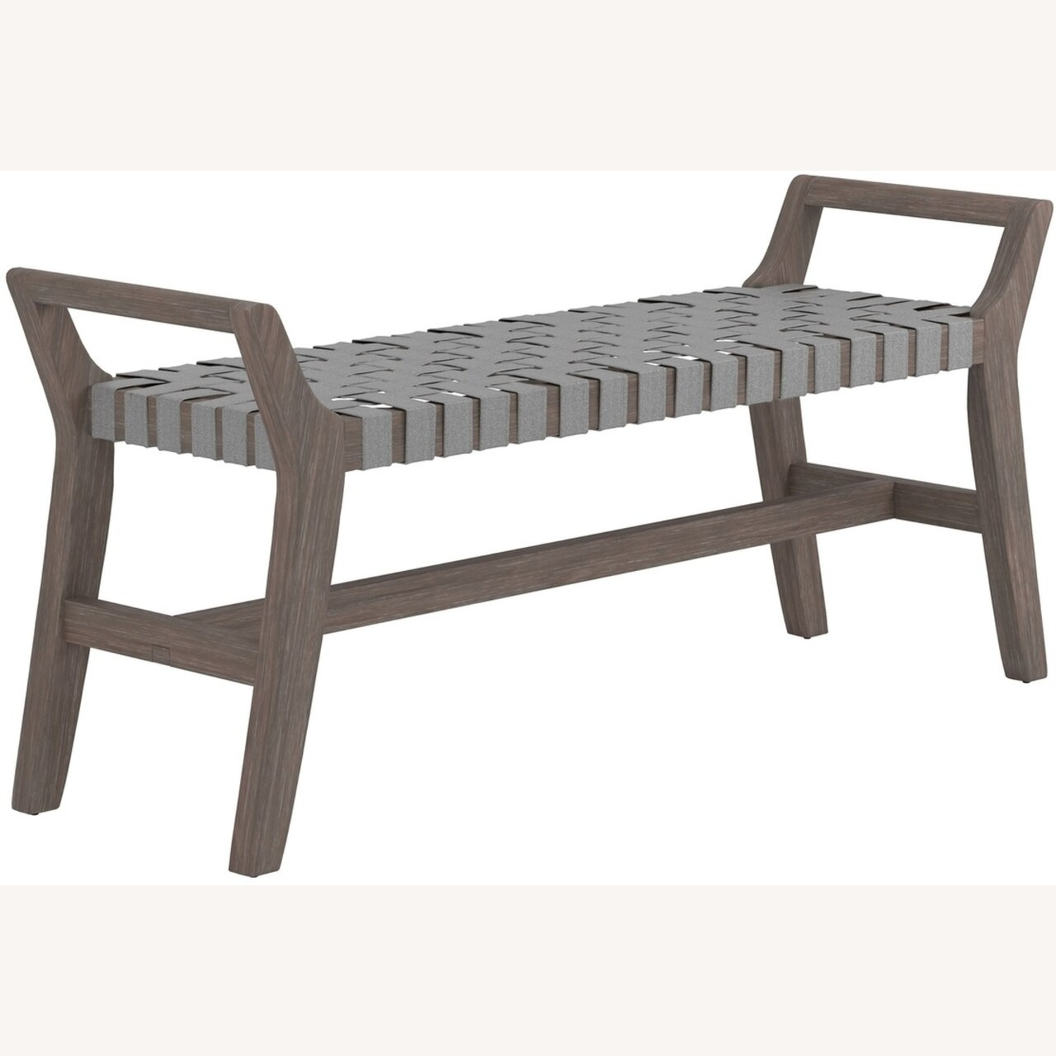 Modern Bench Made W/ Woven Grey Leatherette - image-0