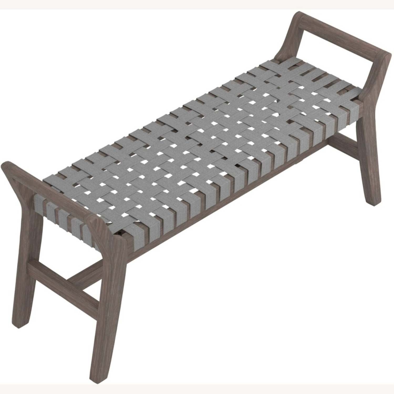 Modern Bench Made W/ Woven Grey Leatherette - image-2