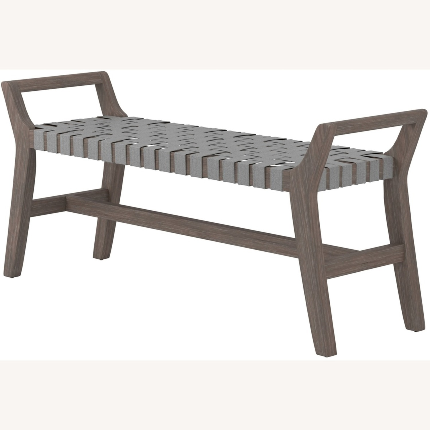 Modern Bench Made W/ Woven Grey Leatherette - image-1