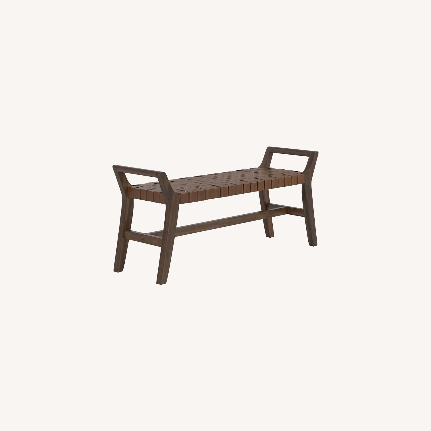 Modern Bench Made W/ Woven Brown Leatherette - image-3