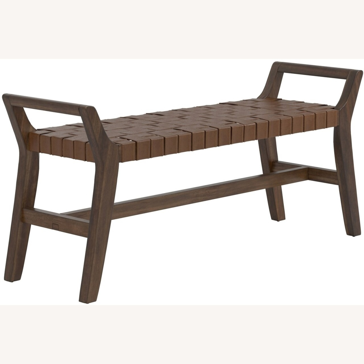 Modern Bench Made W/ Woven Brown Leatherette - image-0