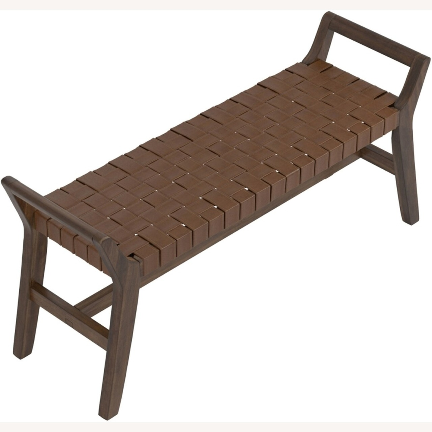 Modern Bench Made W/ Woven Brown Leatherette - image-2