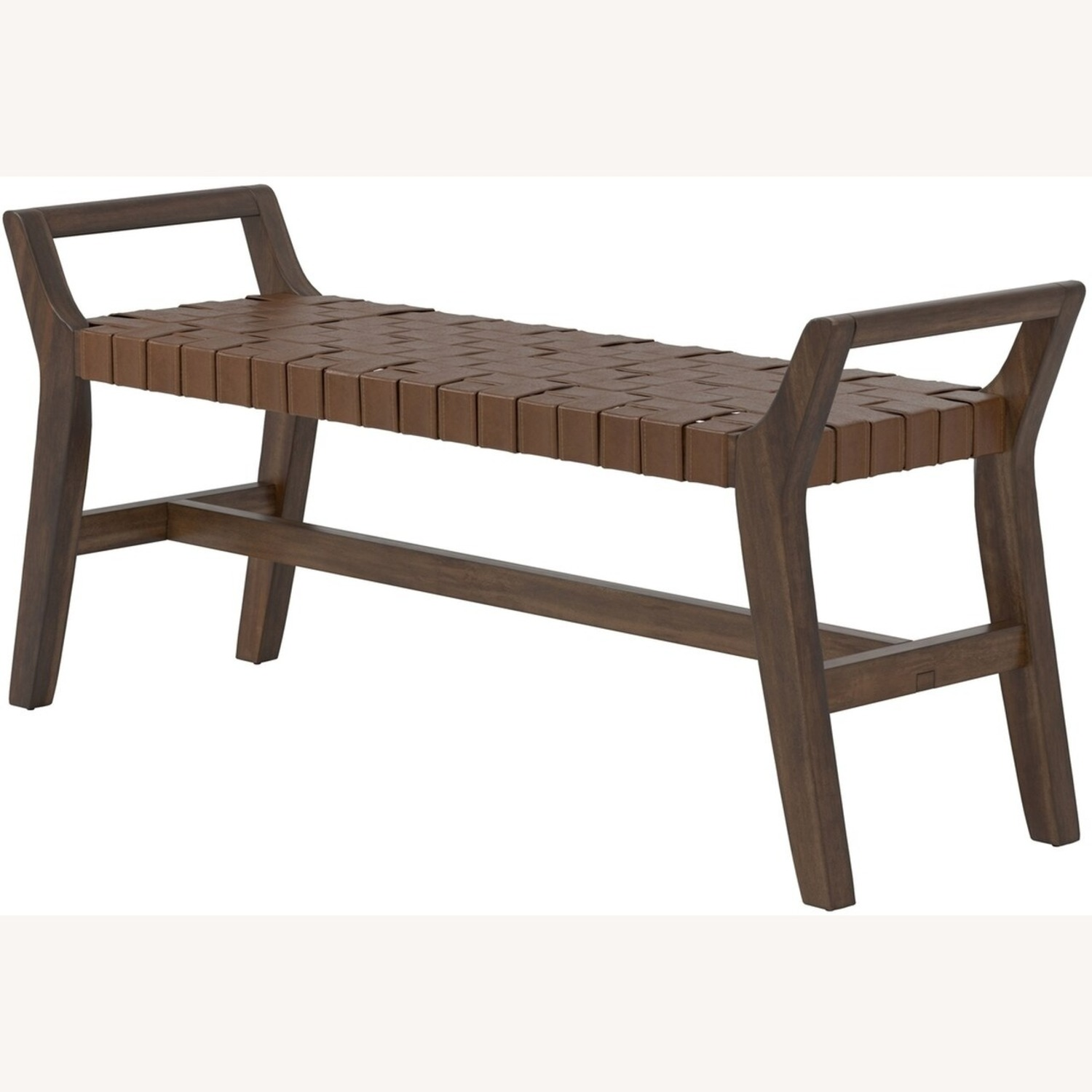 Modern Bench Made W/ Woven Brown Leatherette - image-1