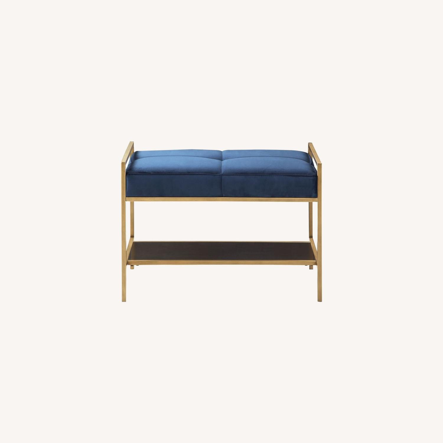 Cozy Bench In A Navy Blue Velvet Fabric - image-3