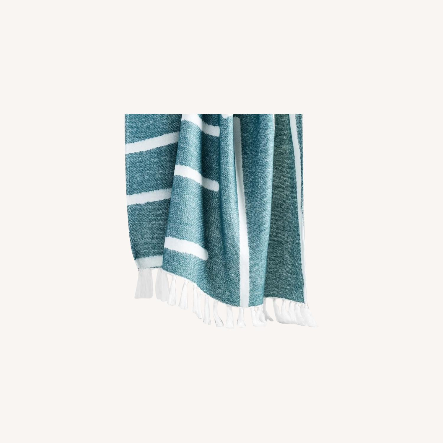West Elm Graphic Throw, Royal Green - image-0