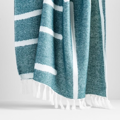 Used West Elm Graphic Throw, Royal Green for sale on AptDeco