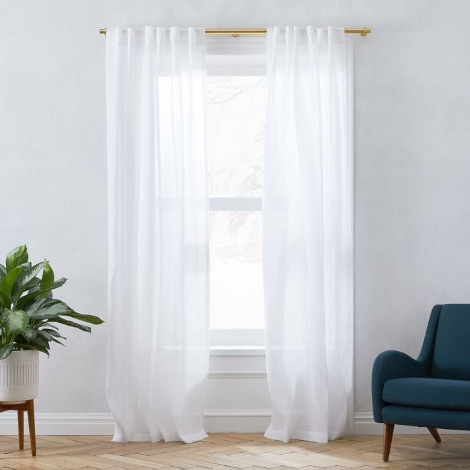 West Elm Sheer Belgian Flax Linen Curtains - White - image-0
