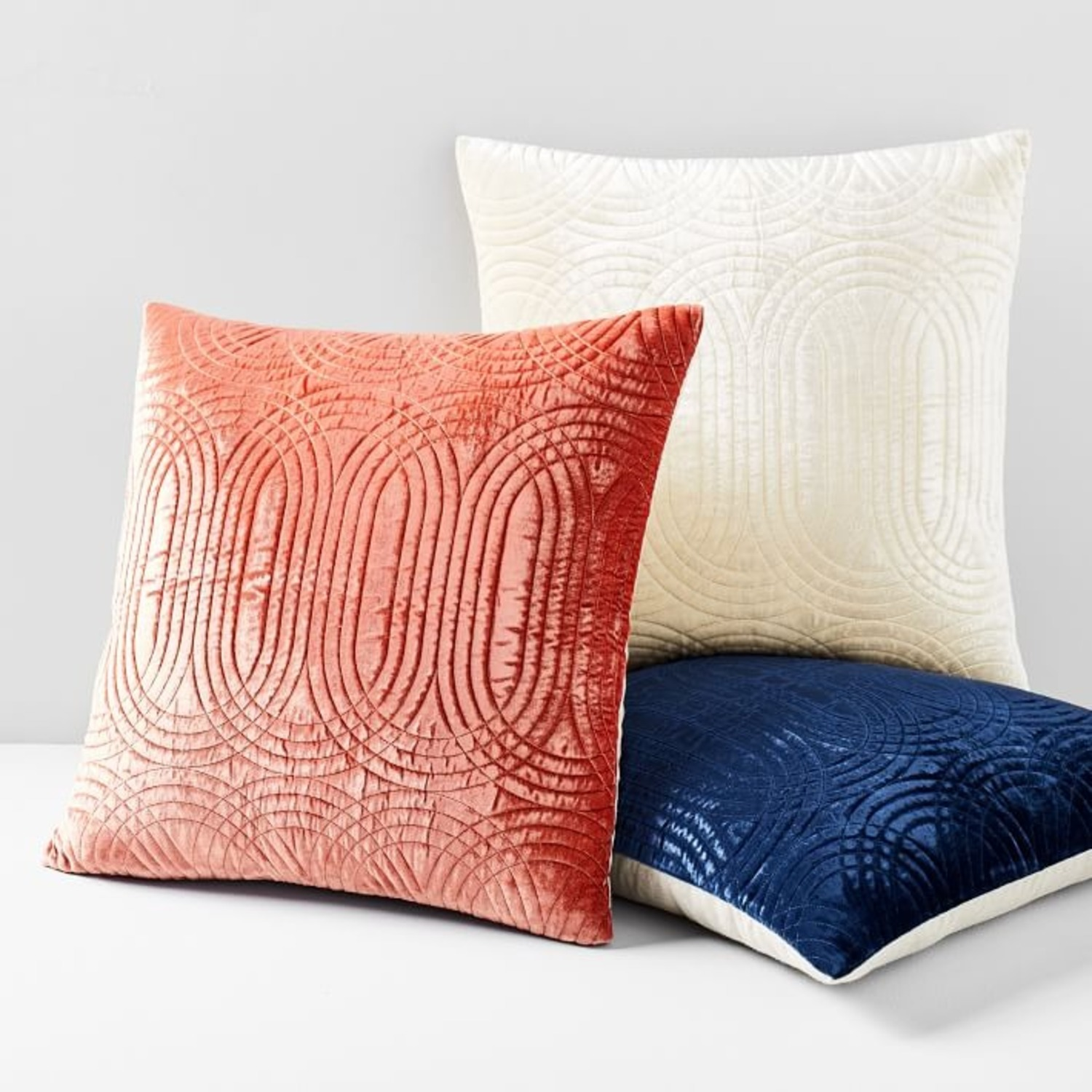 West Elm Lush Velvet Infinity Quilted Pillow Cover - image-3