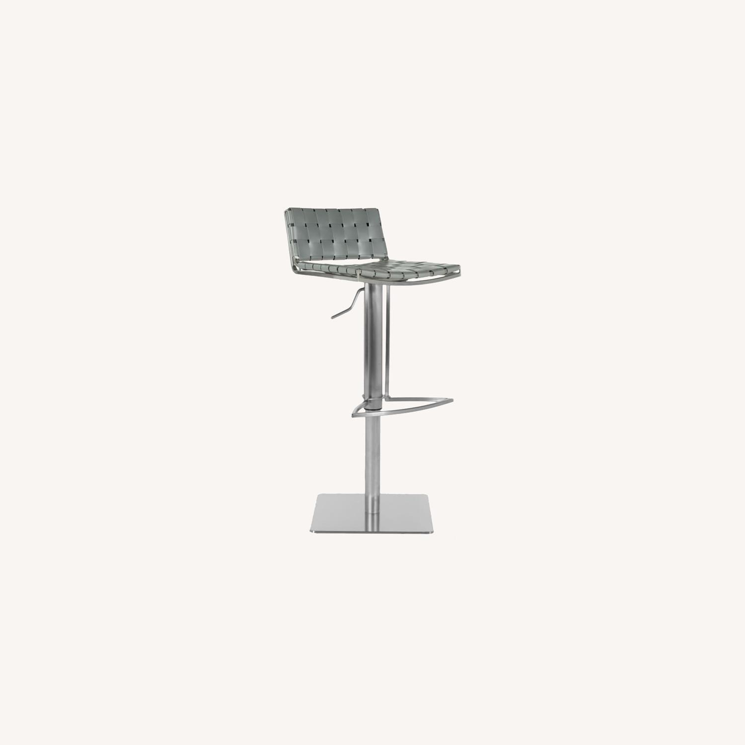 West Elm Woven Leather Bar Stool - image-0