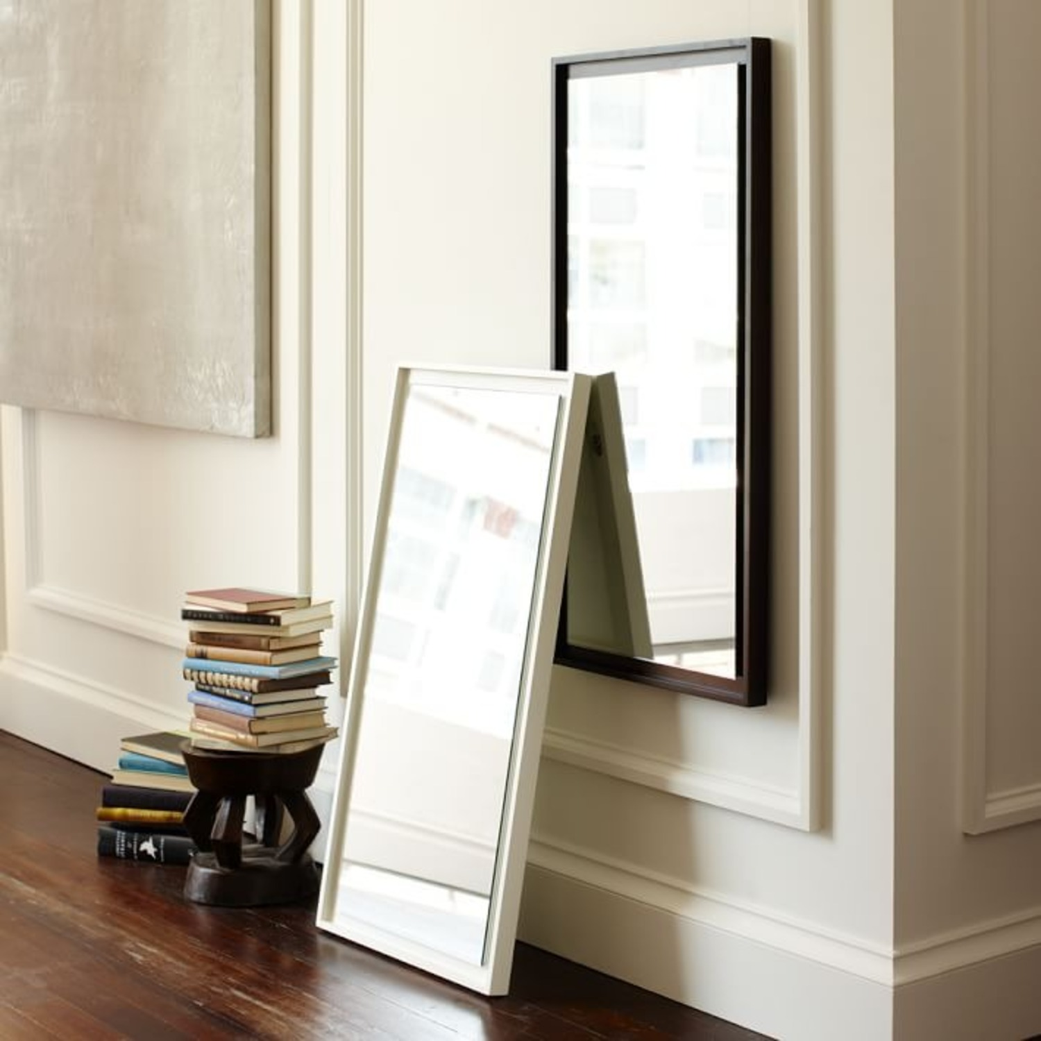 West Elm Floating Wood Wall Mirror, White Lacquer - image-0