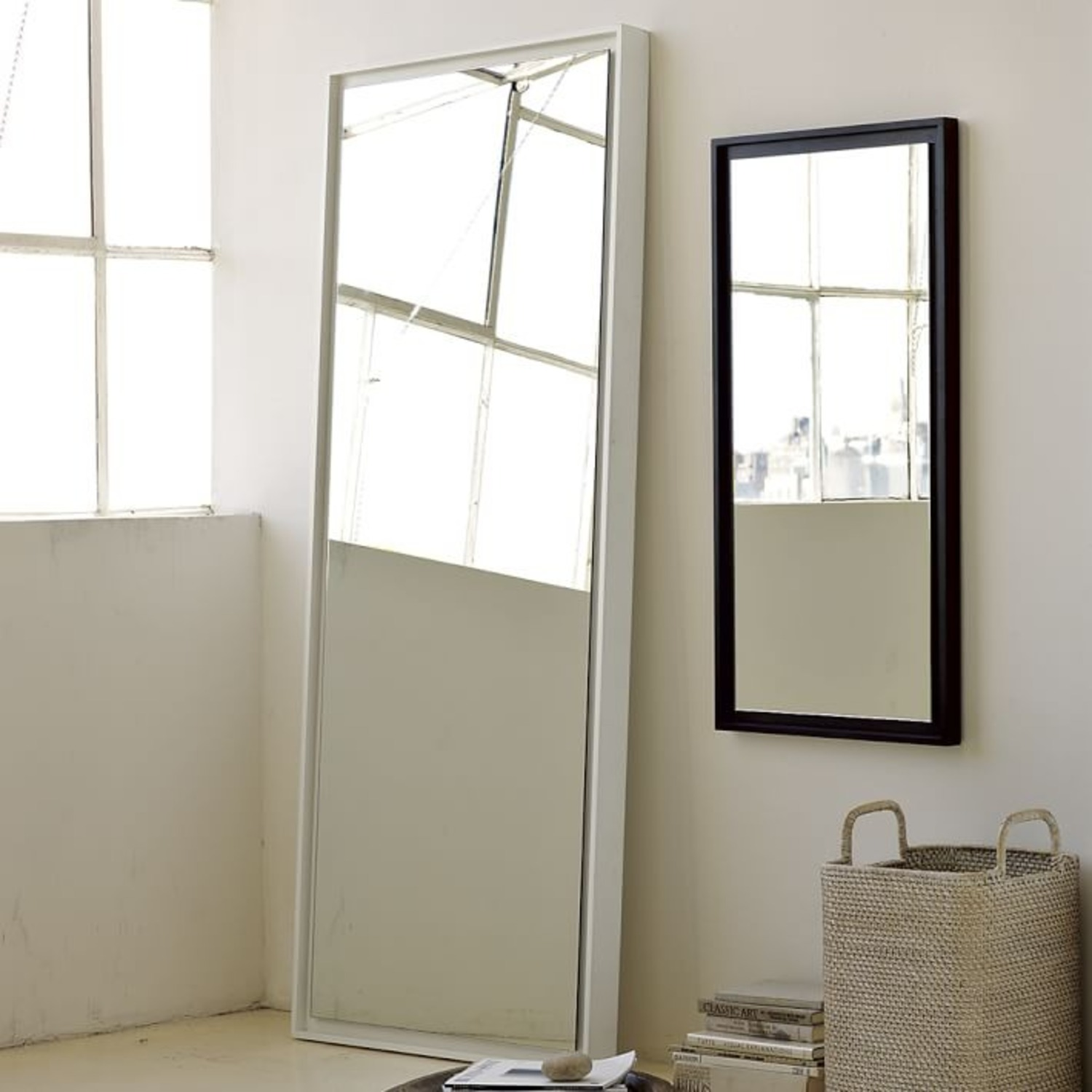 West Elm Floating Wood Wall Mirror, White Lacquer - image-1