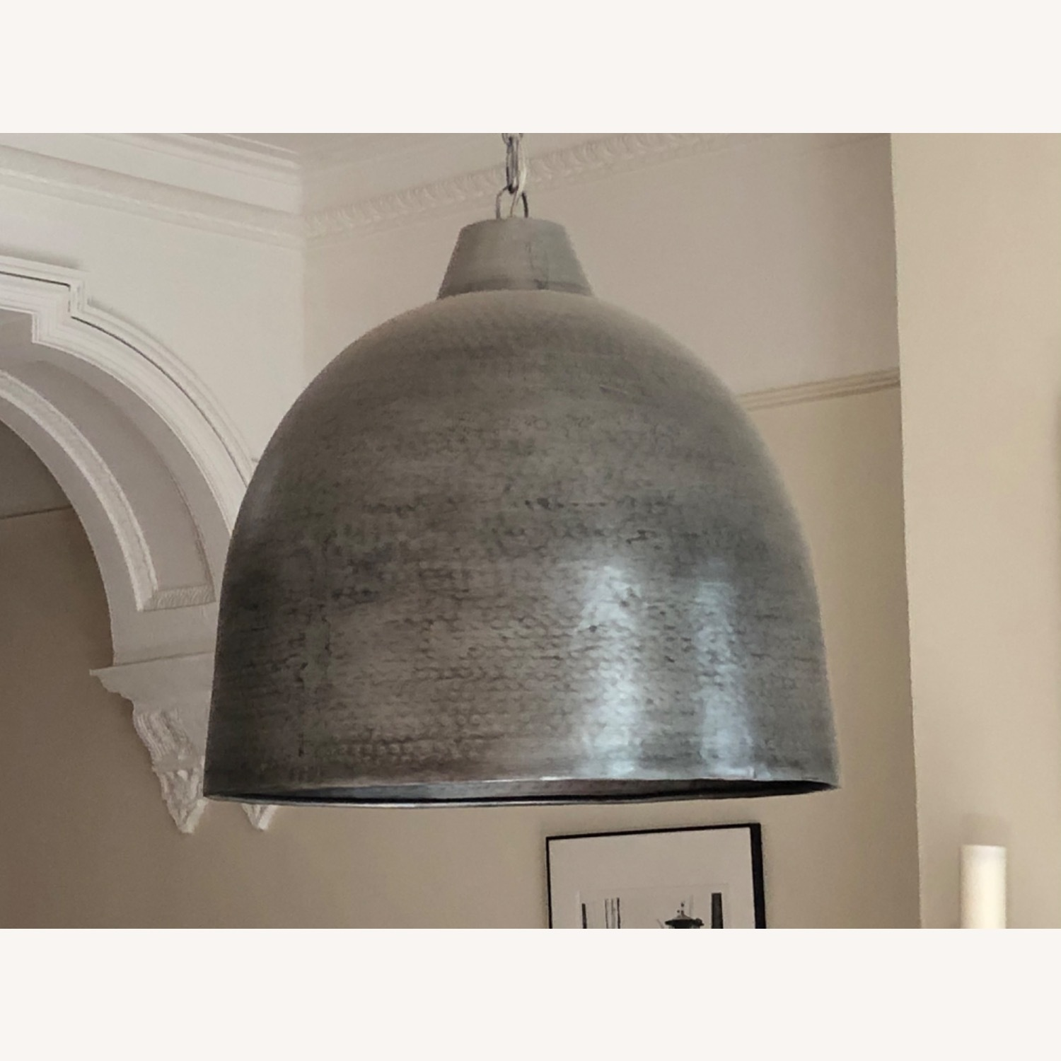 Hammered Steel Oversized Dome Pendant - image-0