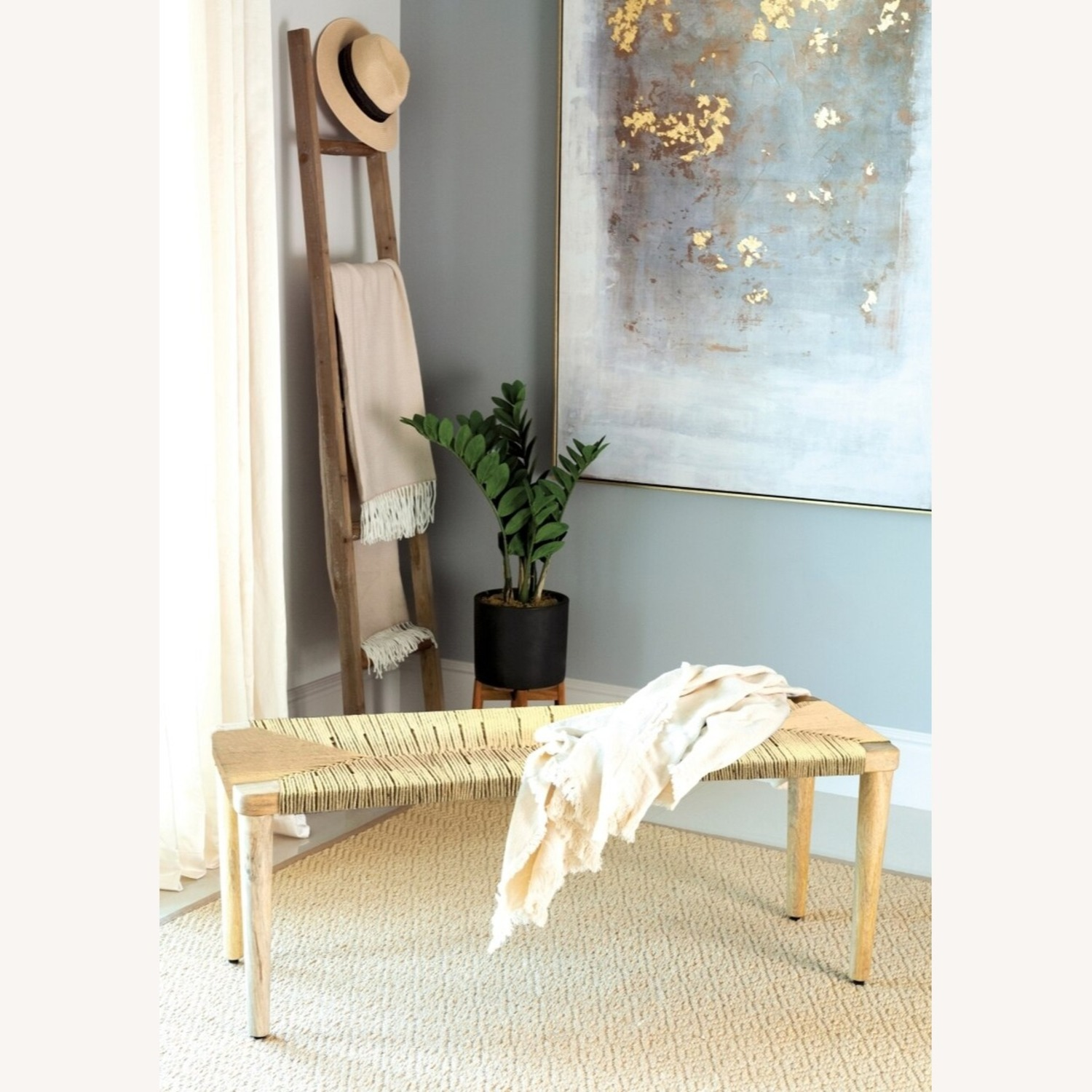 Classic Bench Made From Cotton Rope In Hazelnut - image-2