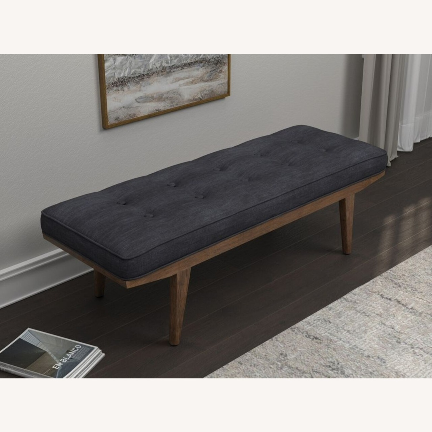 Mid Century Bench In Taupe Fabric - image-2