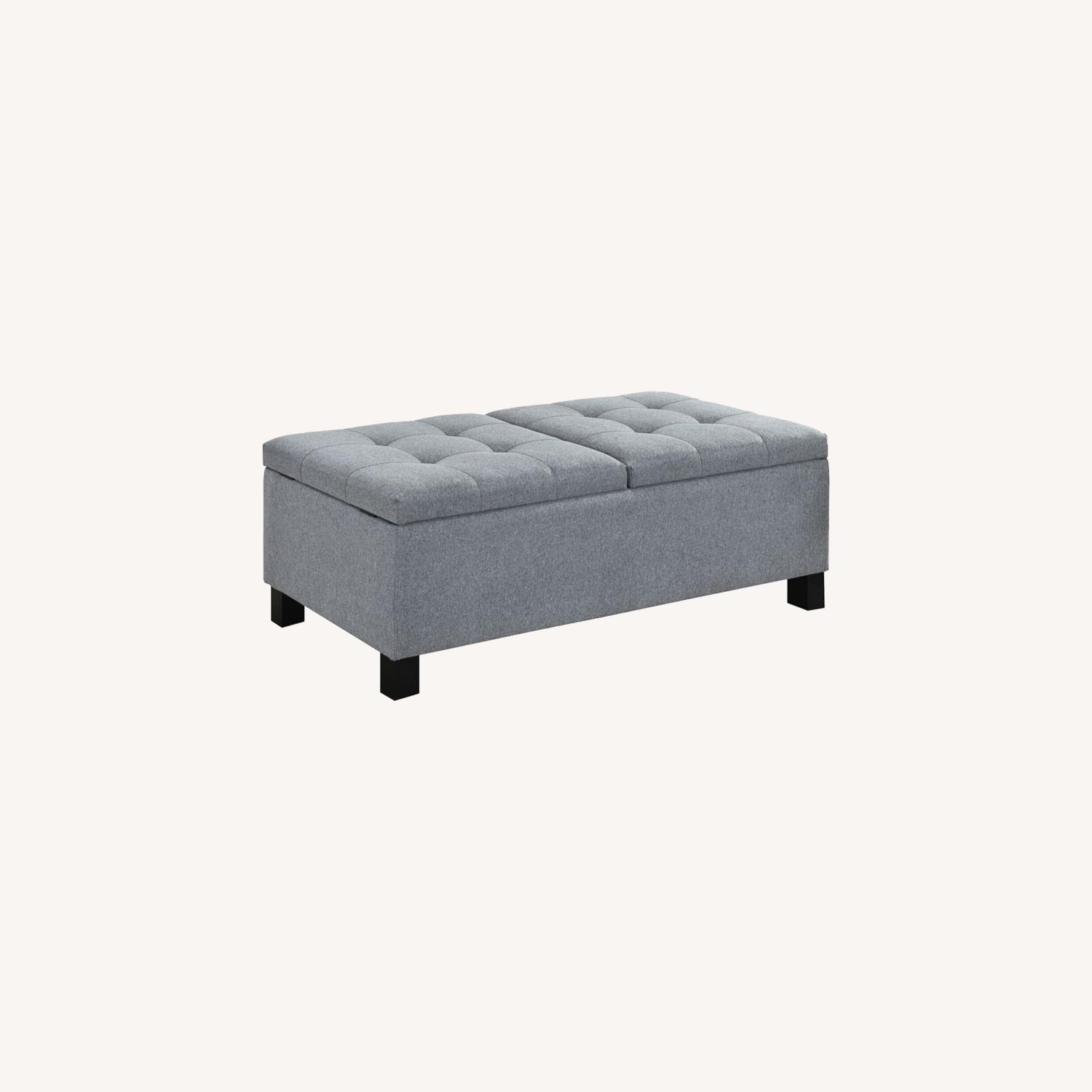 Modern Storage Bench In Grey Fabric - image-3