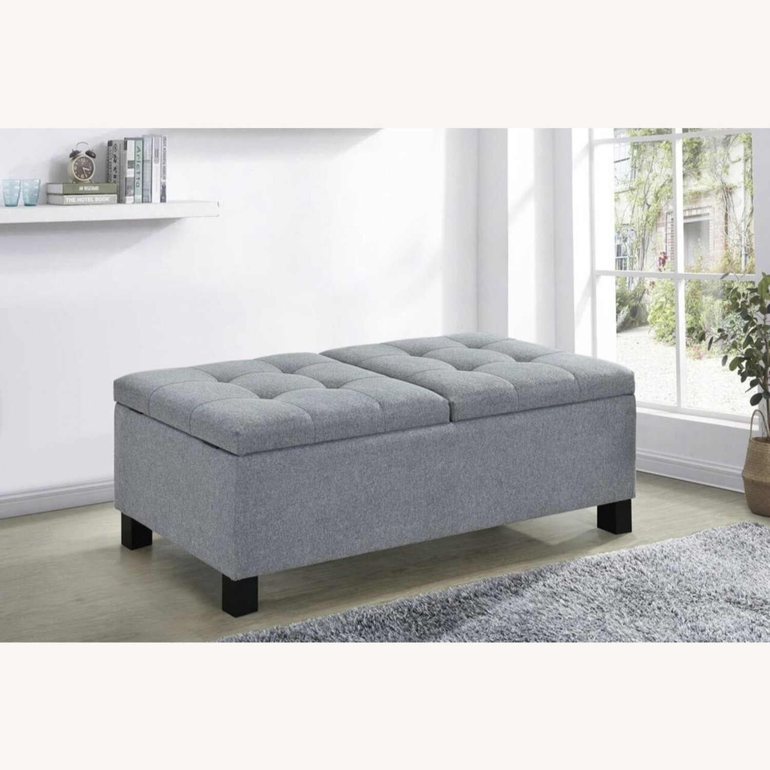 Modern Storage Bench In Grey Fabric - image-2