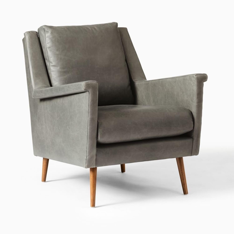 West Elm Carlo Mid Century Leather - image-0