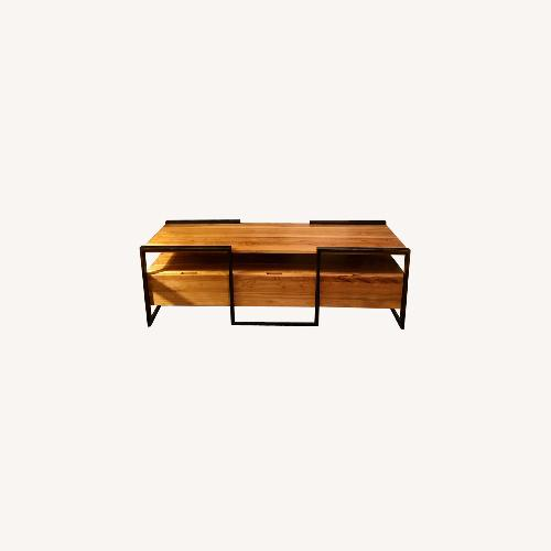 Used From the Source Teak and Metal Media Cabinet for sale on AptDeco