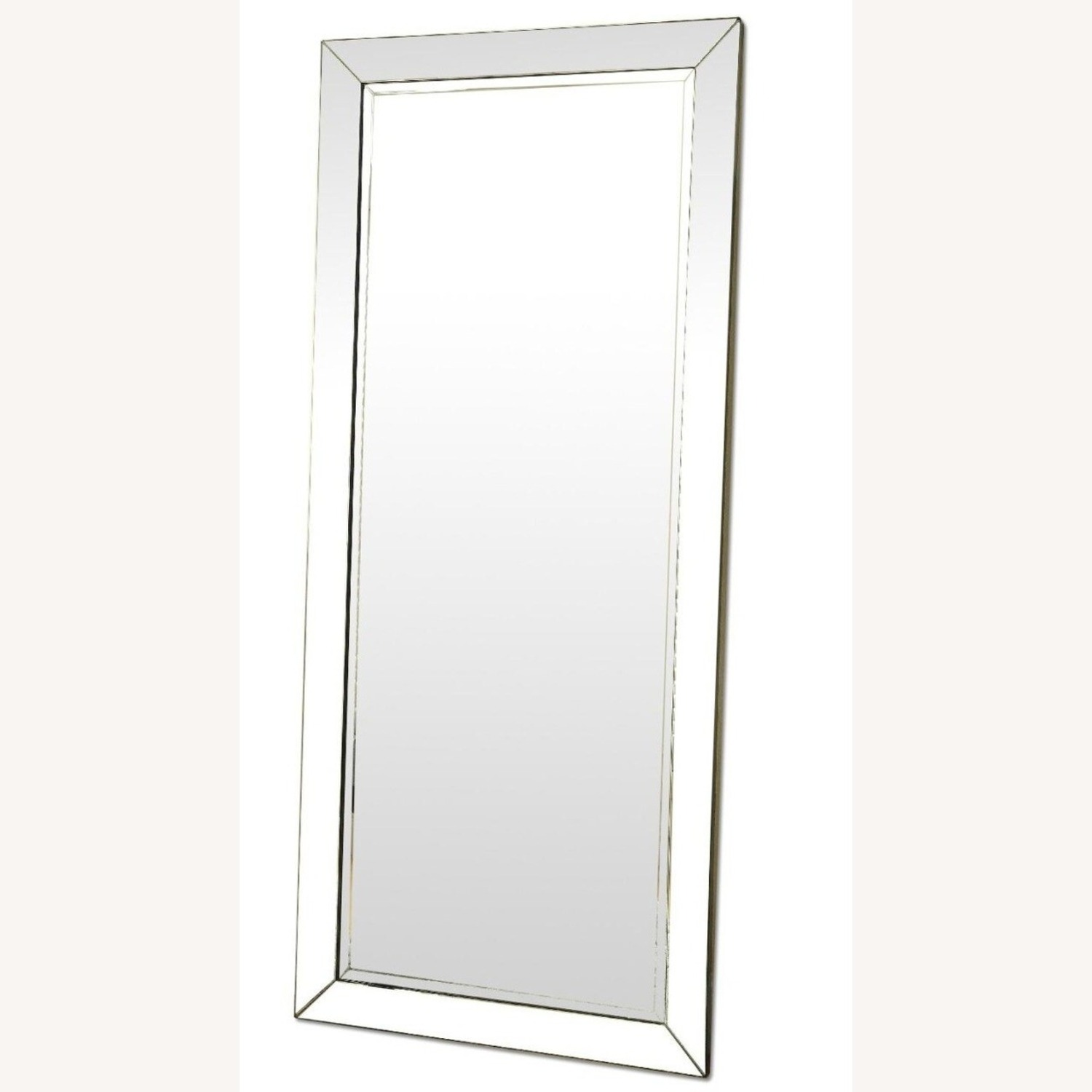 Contemporary Floor Mirror With Beveled Edges - image-0