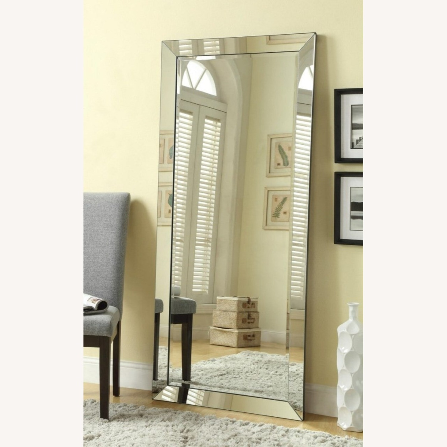 Contemporary Floor Mirror With Beveled Edges - image-2