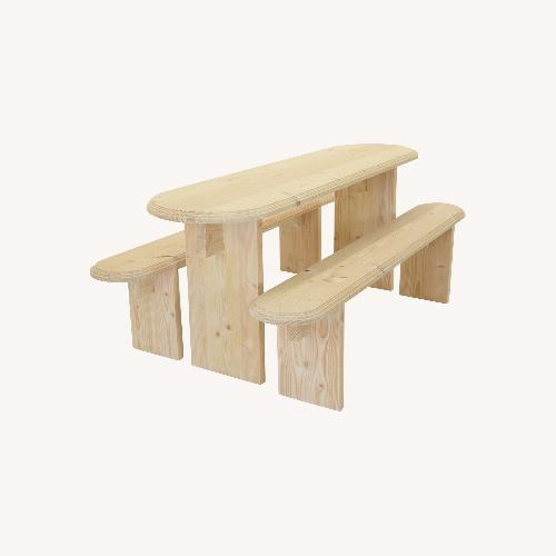 Used Taylor Made Custom Wood Table & Benches for sale on AptDeco