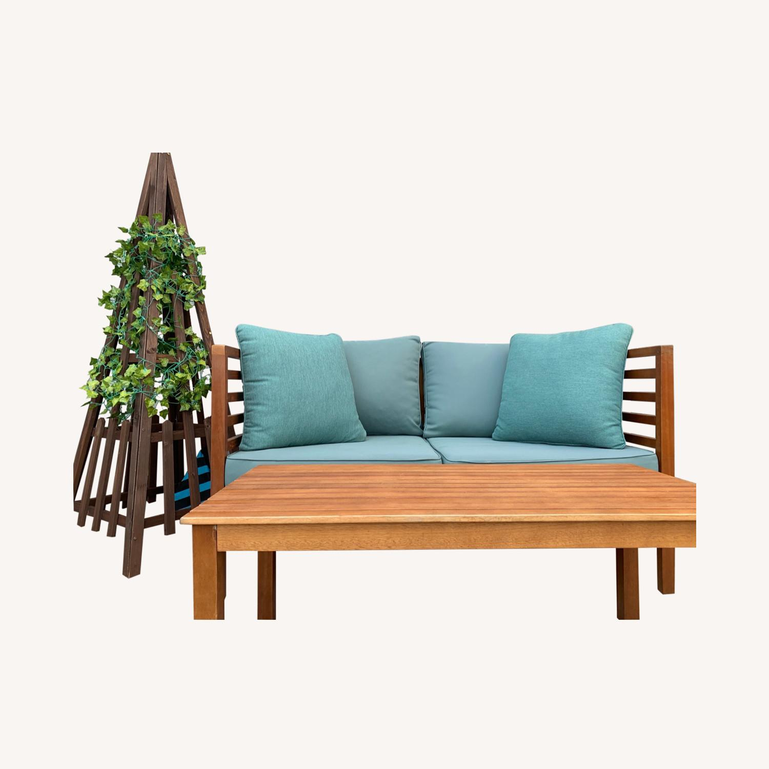 Patio Loveseat + Table + Obelisk With Faux Ivy - image-0