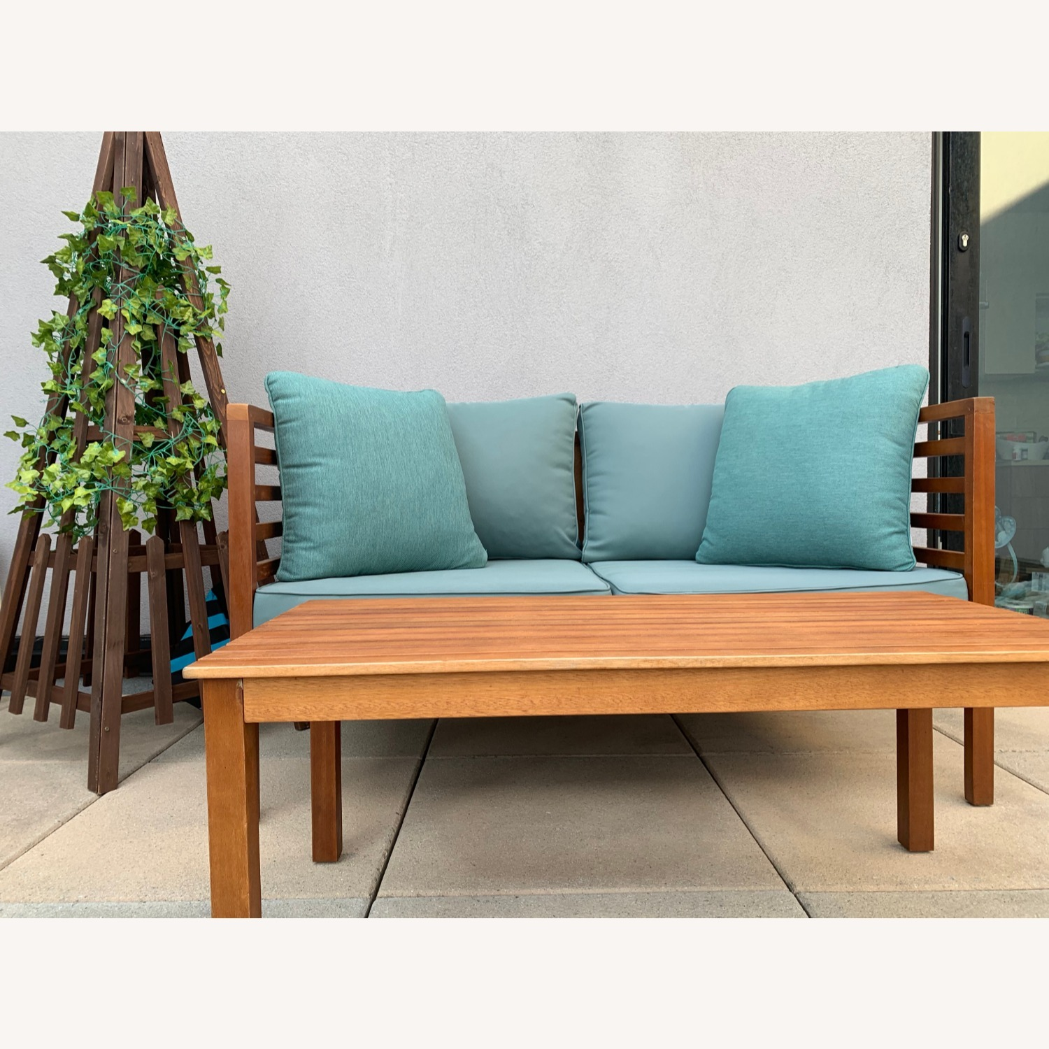Patio Loveseat + Table + Obelisk With Faux Ivy - image-6