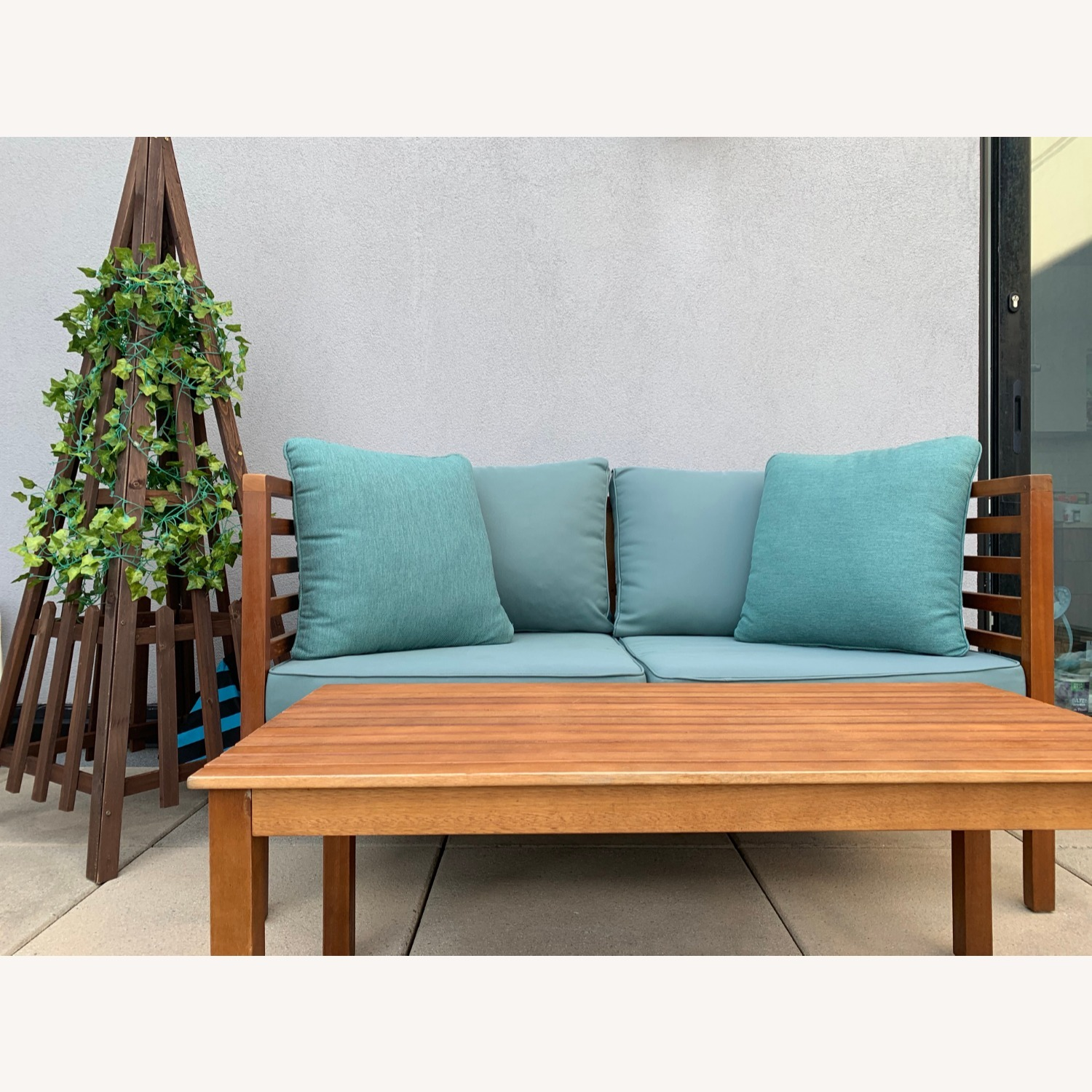 Patio Loveseat + Table + Obelisk With Faux Ivy - image-2