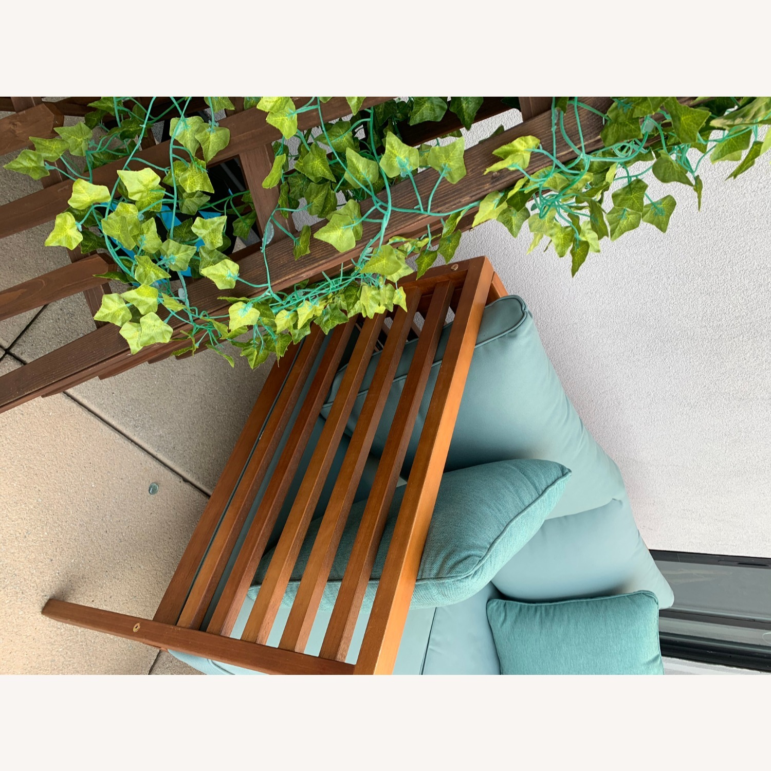 Patio Loveseat + Table + Obelisk With Faux Ivy - image-9