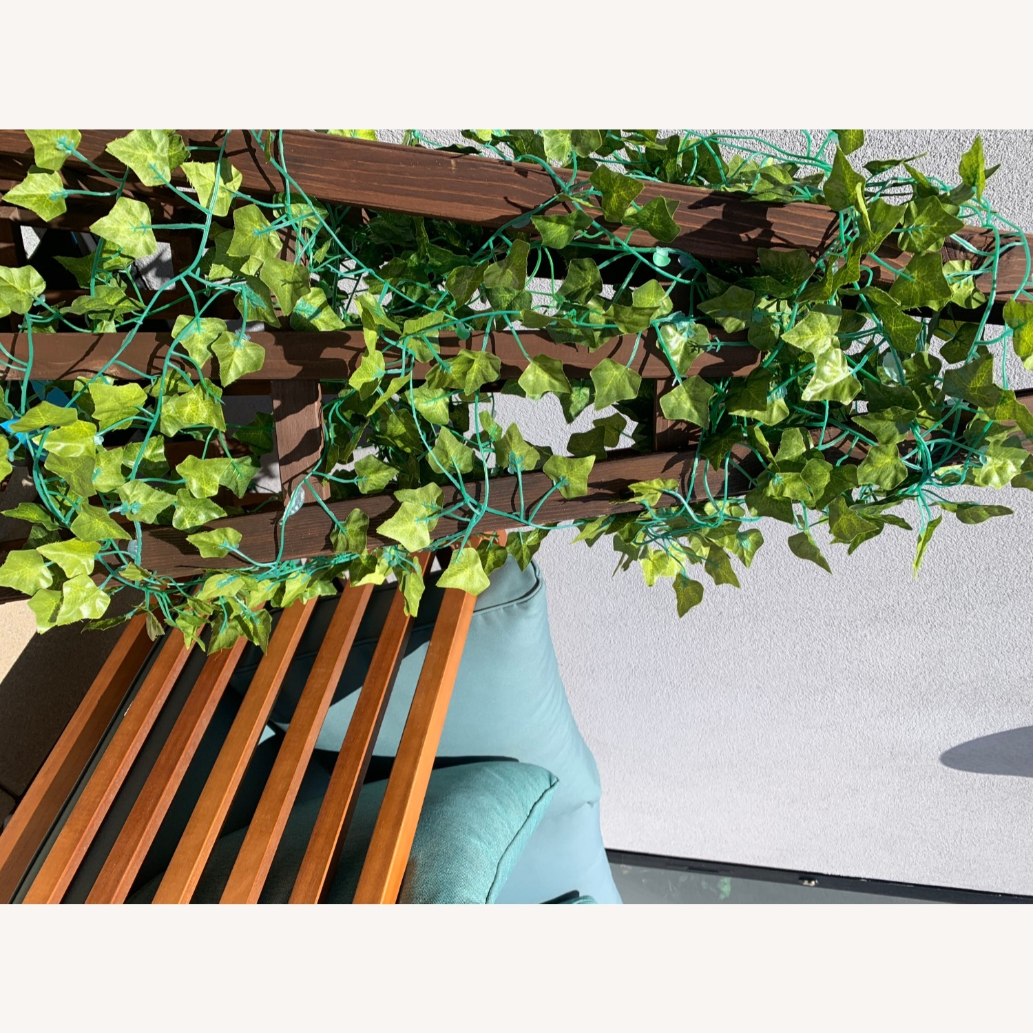 Patio Loveseat + Table + Obelisk With Faux Ivy - image-10