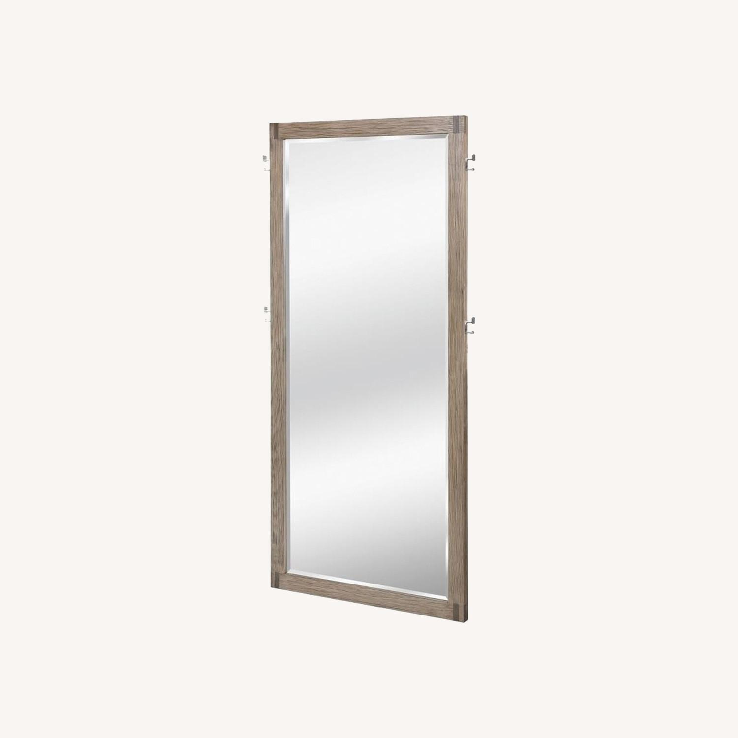 Modern Floor Mirror in Grey Oak Frame W/ Hooks - image-4