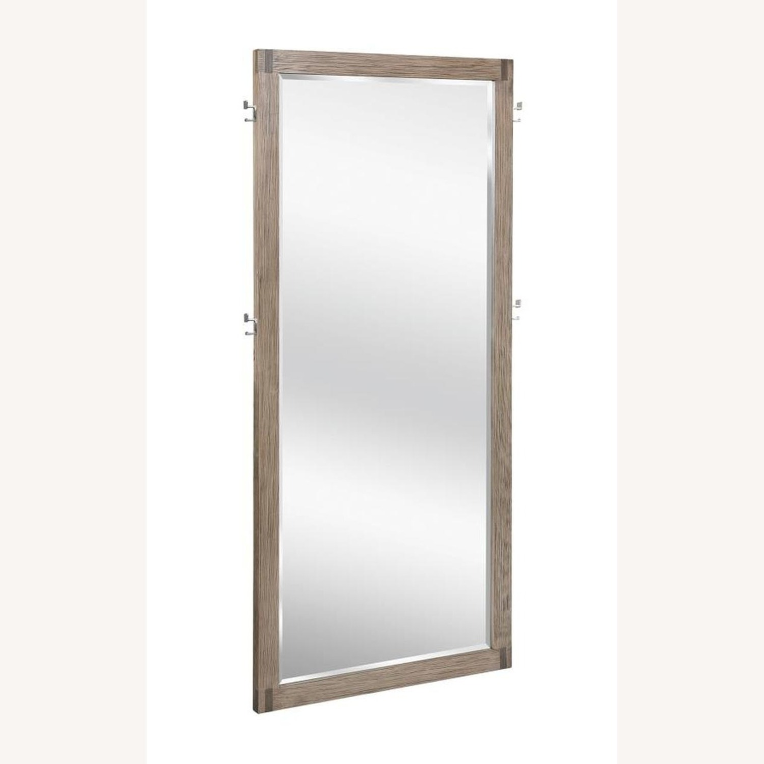 Modern Floor Mirror in Grey Oak Frame W/ Hooks - image-0