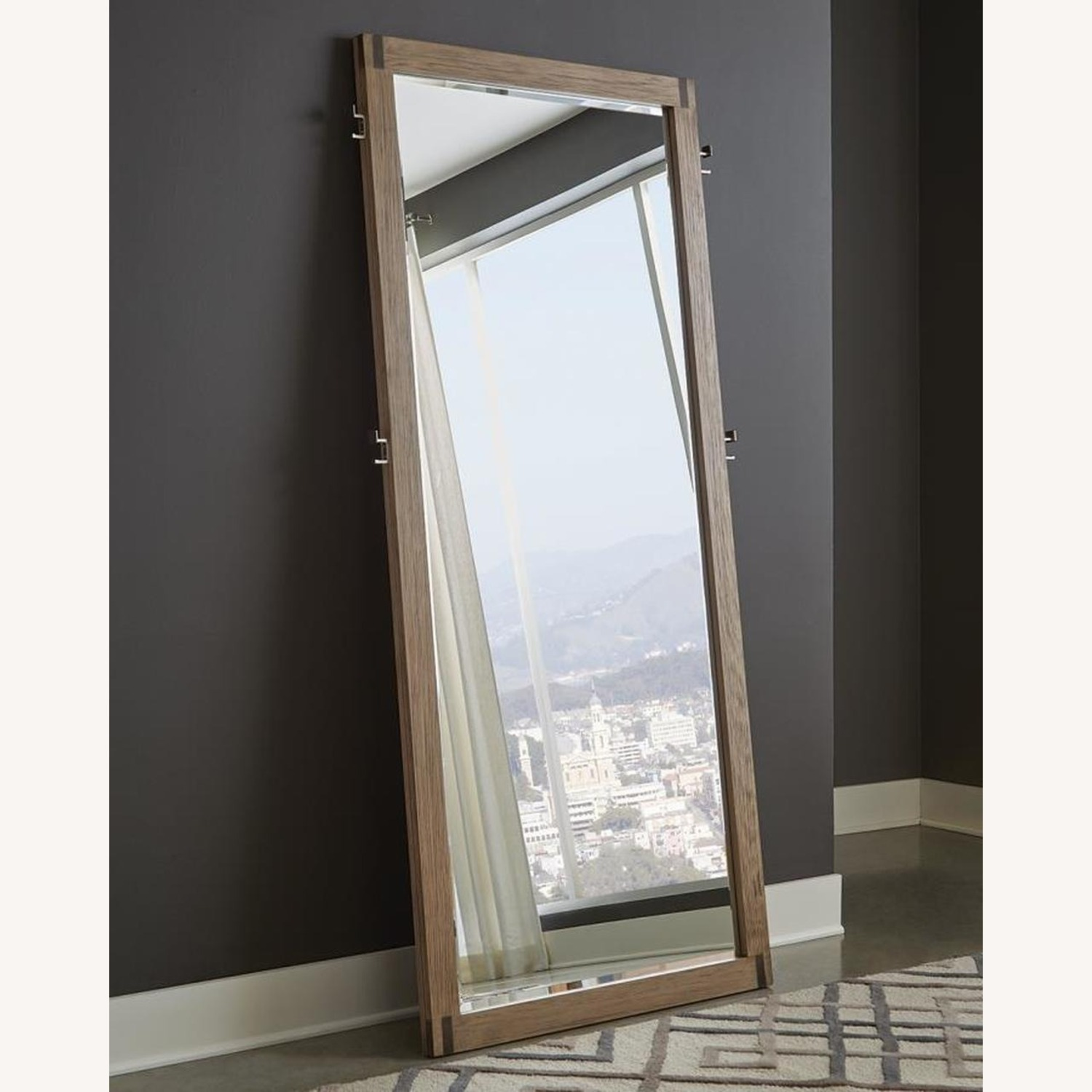 Modern Floor Mirror in Grey Oak Frame W/ Hooks - image-2