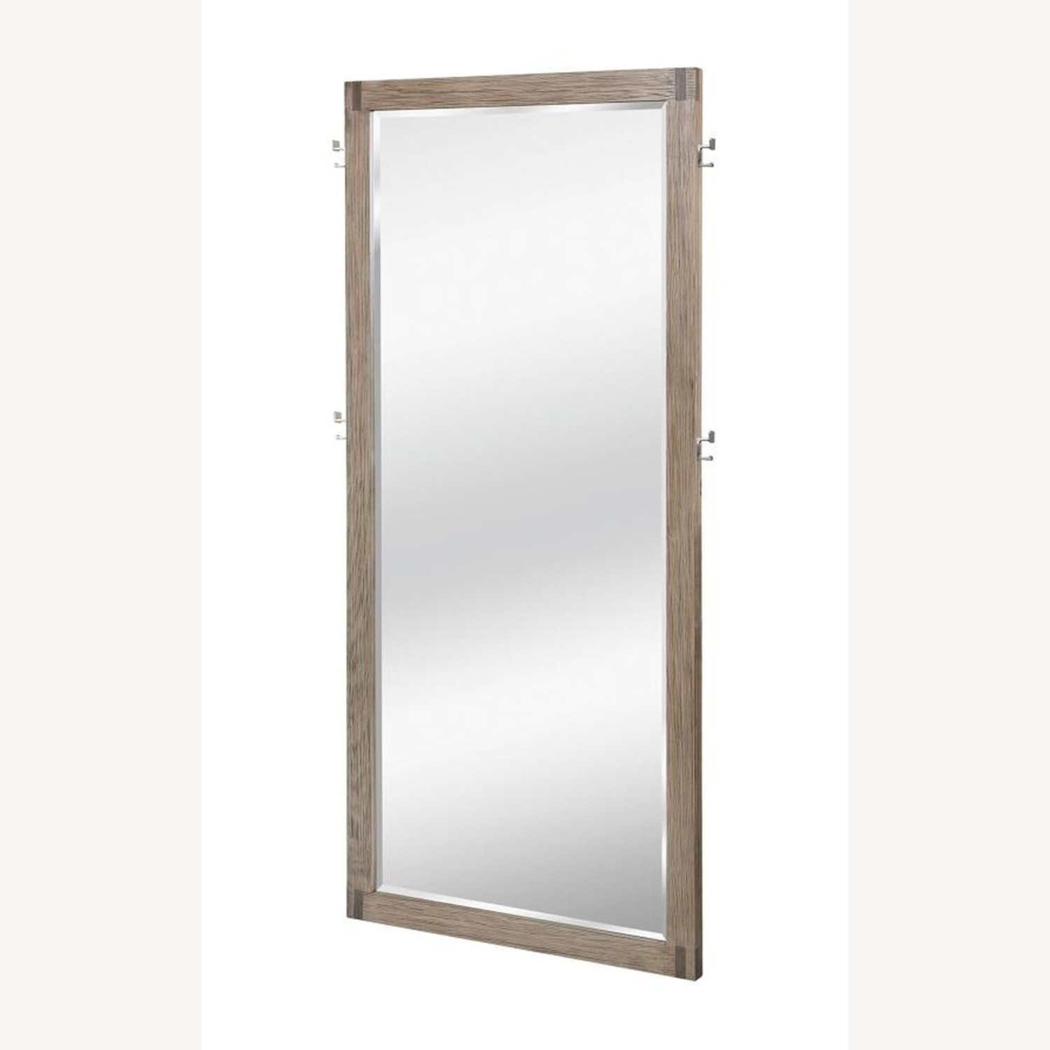 Modern Floor Mirror in Grey Oak Frame W/ Hooks - image-1