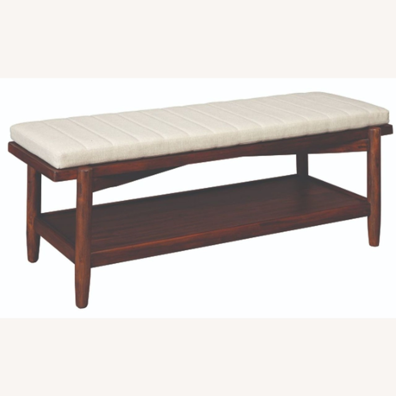 Modern Bench W/ Beige Fabric Seat Cushion - image-0