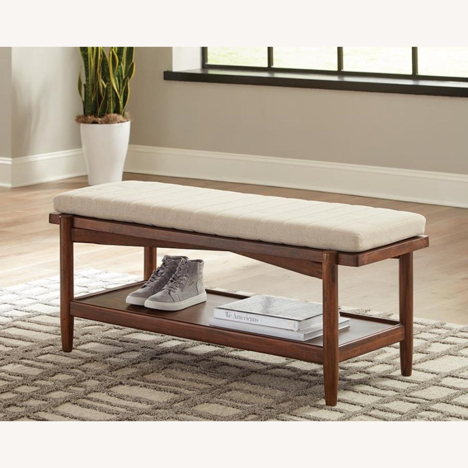 Modern Bench W/ Beige Fabric Seat Cushion - image-2
