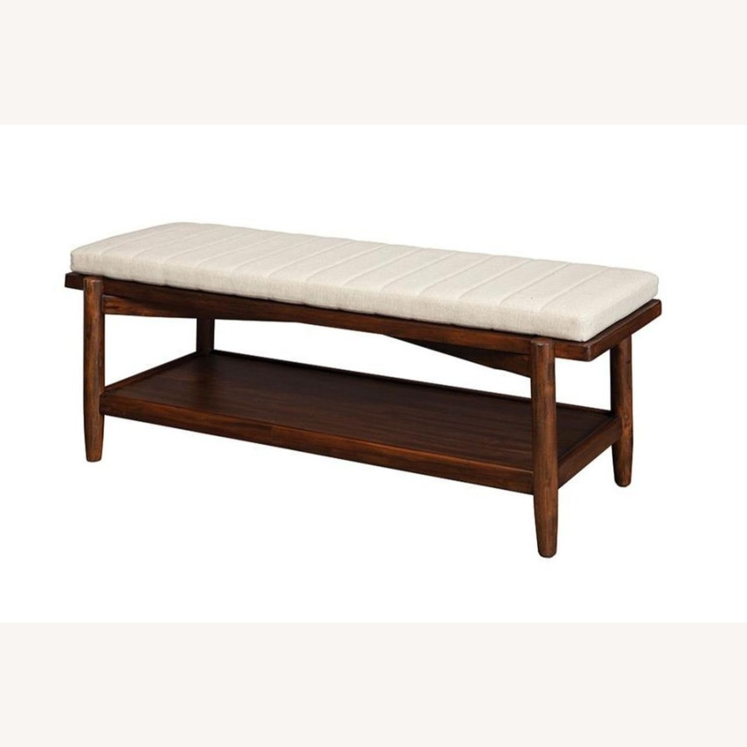 Modern Bench W/ Beige Fabric Seat Cushion - image-1