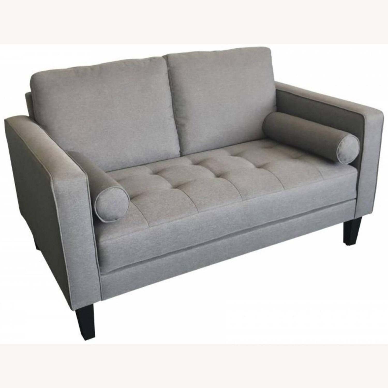 Image of: Mid Century Loveseat Sofa Set In Charcoal Linen Aptdeco