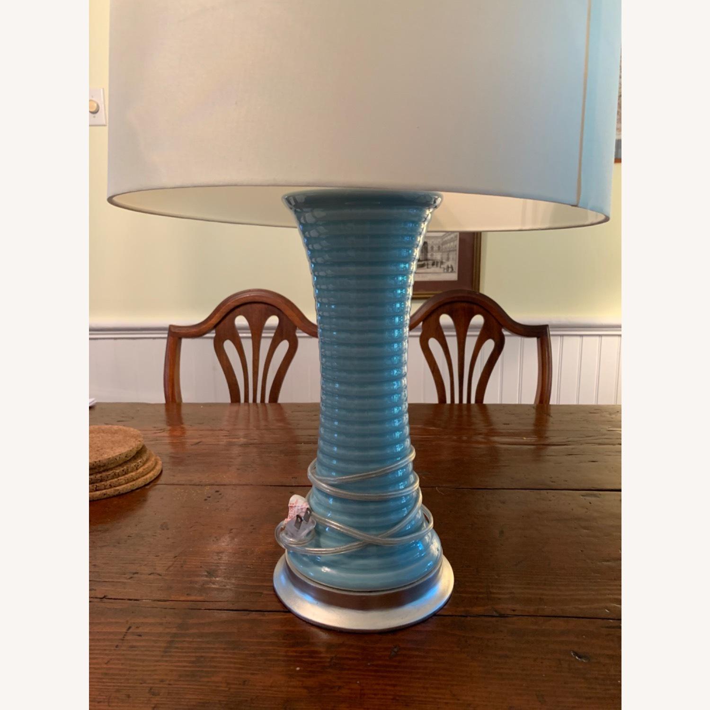 Light Blue Glazed Ceramic Lamp - image-1