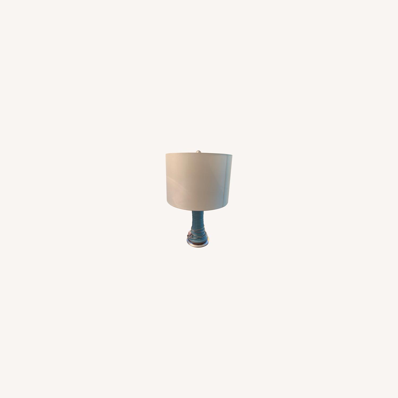 Light Blue Glazed Ceramic Lamp - image-0